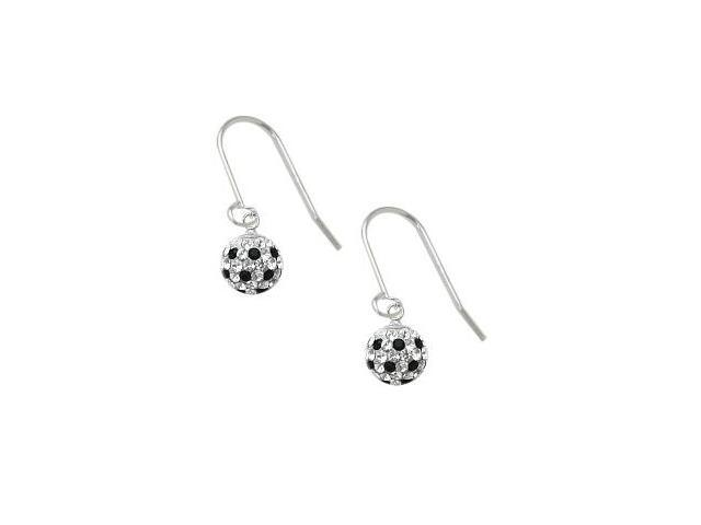 SWAROVSKI® Elements Black and White Stone Circle Ball Earrings