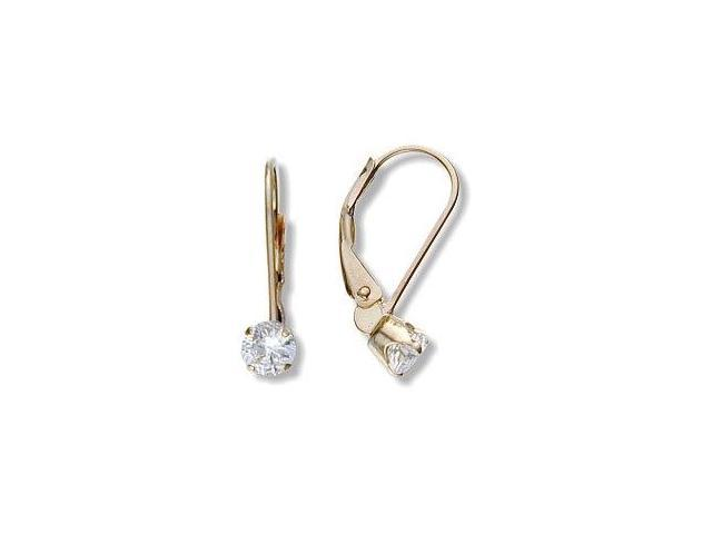 April 10 Karat Yellow Gold Genuine 0.60tcw. 4mm White Topaz Zirconia Leverback Gem Earrings