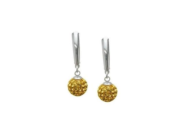 SWAROVSKI® Elements Genuine Sterling Silver Drop Style Ball Earrings