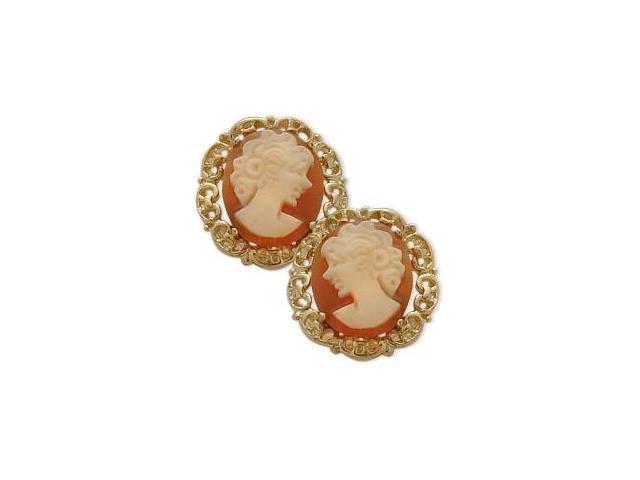 14K Yellow Gold Cornelian Shell Cameo Earrings