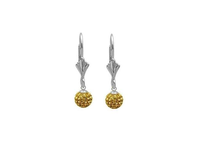 SWAROVSKI® Elements Yellow Stone Drop Style Ball Earrings