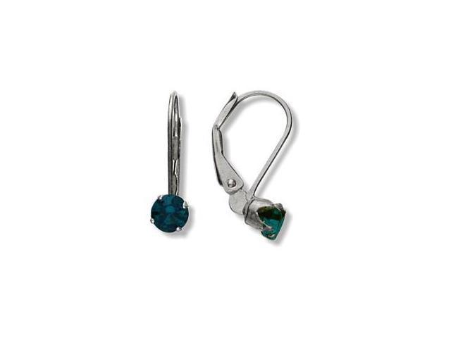 May 10 Karat White Gold Created 0.50tcw. 4mm Emerald Leverback Gem Earrings