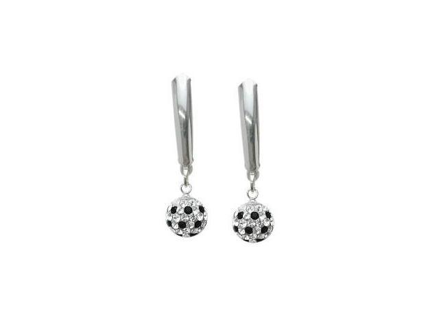 SWAROVSKI® Elements Black and White Stone Drop Style Ball Earrings