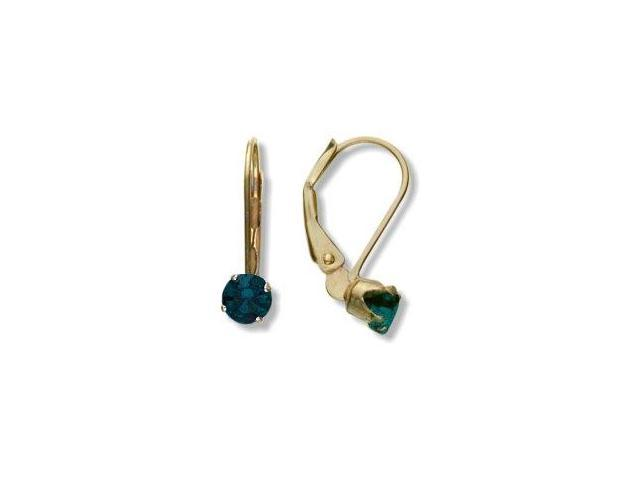 May 10 Karat Yellow Gold Created 0.50tcw. 4mm Emerald Leverback Gem Earrings