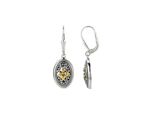 Genuine Sterling Silver & 18 Karat  Yellow Gold Filigree Earrings