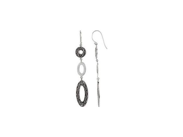 Genuine Sterling Silver Drop Scroll Pattern Earrings