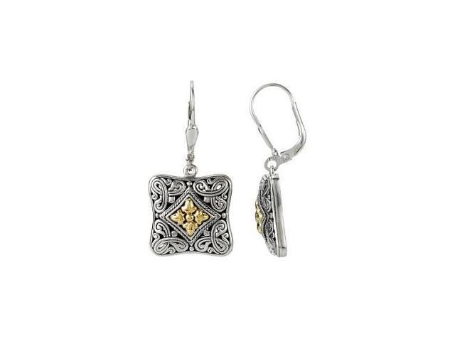 Genuine Sterling Silver & 18 Karat Gold Square Filigree Earrings