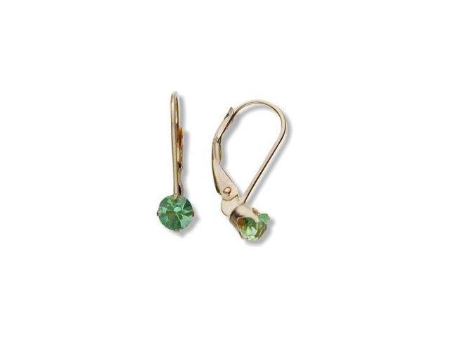 August 10 Karat Yellow Gold Genuine 0.56tcw. 4mm Peridot Leverback Gem Earrings