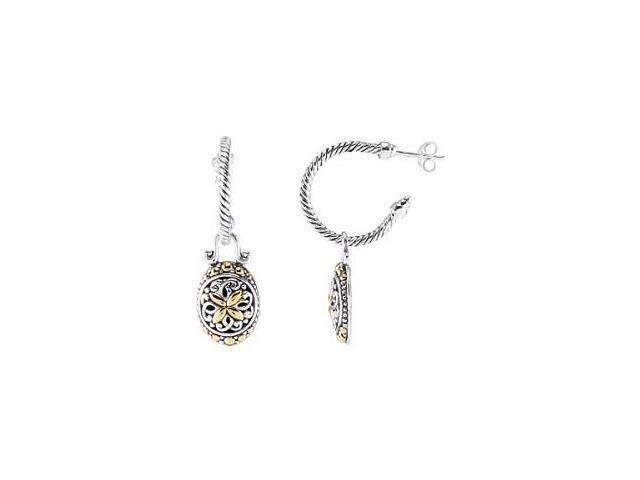 Genuine Sterling Silver & 18 Karat Gold Oval Filigree Earrings