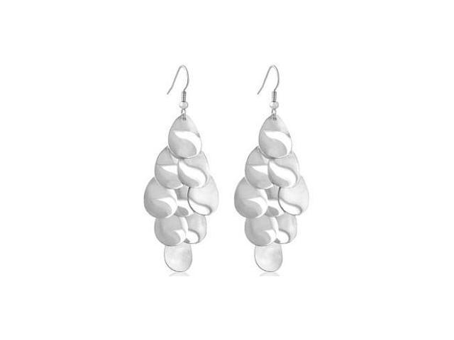 Silver Tone Caviar Drop Style Motif Earrings