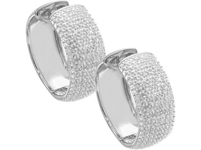 Ladies Thick 0.25tcw Diamond Hoop Huggy Earrings
