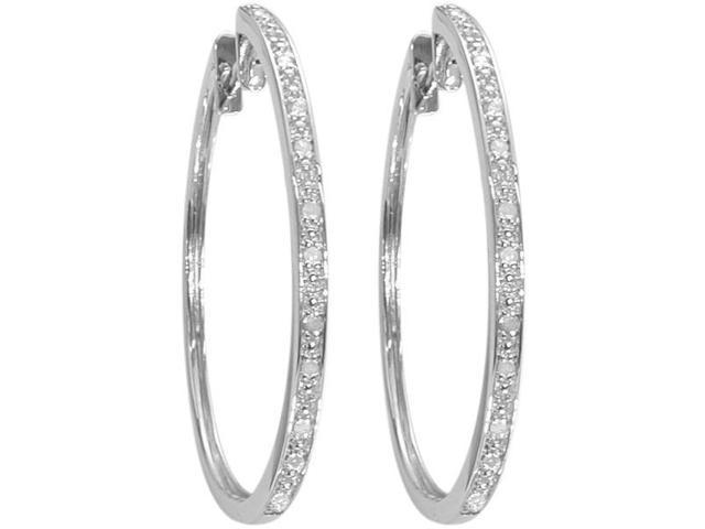 Ladies Thin 0.25tcw Diamond Hoop Earrings