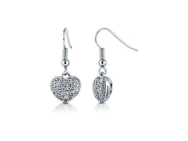 Ladies Pave Set 3D Heart Earrings