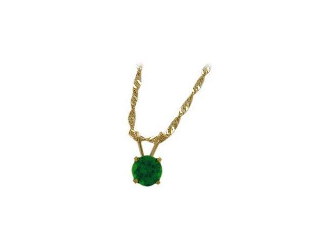 May 0.45tcw. 5mm 14 Karat Yellow Gold Created Round Emerald Pendant