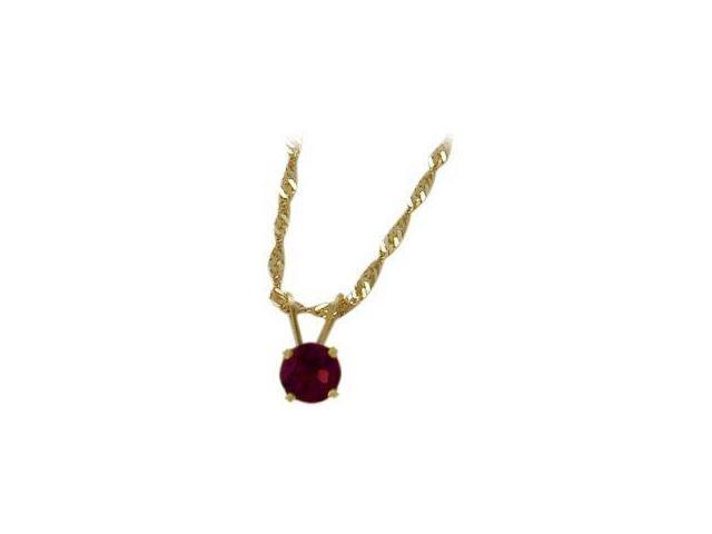 June 0.45tcw. 5mm 14 Karat Yellow Gold Genuine Round Rhodolite Pendant