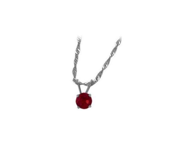 July 0.55tcw. 5mm 14 Karat White Gold Created Round Ruby Pendant