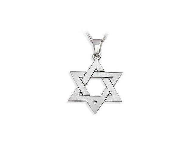Genuine Sterling Silver High Polish Religious Large Star of David Jewish Pendant with Chain