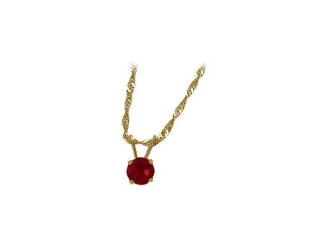 July 0.55tcw. 5mm 14 Karat Yellow Gold Created Round Ruby Pendant