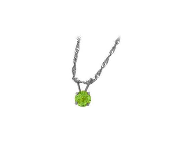 August 0.50tcw. 5mm 14 Karat White Gold Genuine Round Peridot Pendant
