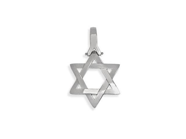Genuine Sterling Silver High Polish Religious Heavy Star of David Jewish Pendant with Chain