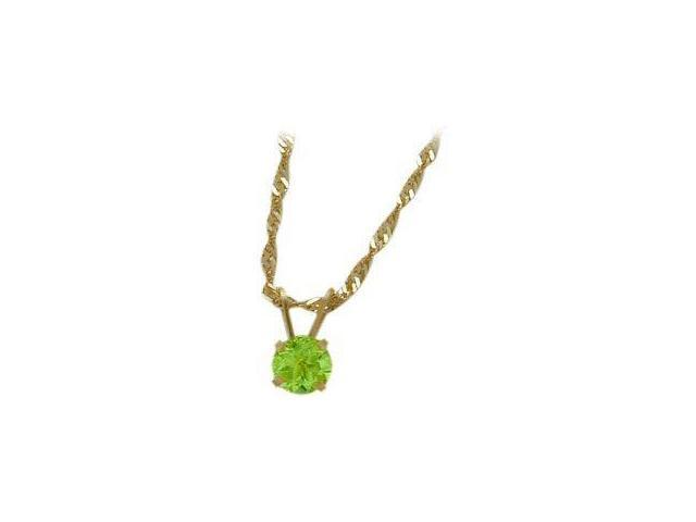 August 0.50tcw. 5mm 14 Karat Yellow Gold Genuine Round Peridot Pendant