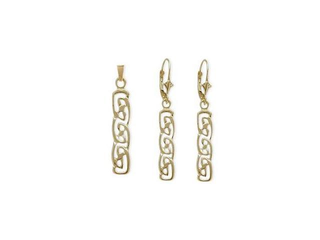 10 Karat Yellow Gold Celtic Earrings & Pendant Set with chain