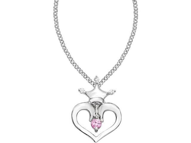Disney® Heart Crown Diamond & Pink Sapphire Necklace