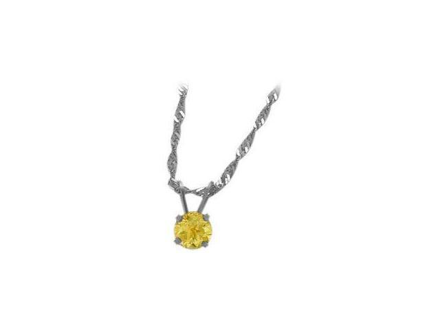 November 0.40tcw. 5mm 14 Karat White Gold Genuine Round Citrine Pendant