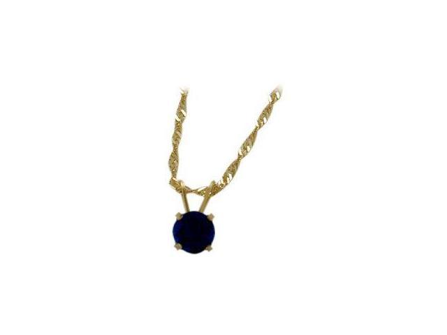 September 0.55tcw. 5mm 14 Karat Yellow Gold Created Round Sapphire Pendant