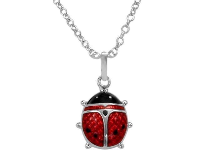 Medium Sterling Silver & Enamel Lady Bug Pendant with a chain