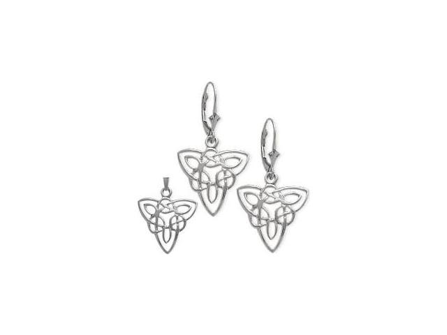 10 Karat White Gold Celtic Earrings & Pendant Set with a chain