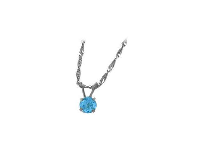 December 0.55tcw. 5mm 14 Karat White Gold Genuine Round Blue Topaz Pendant