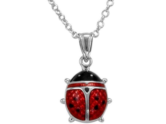 Large Sterling Silver & Enamel Lady Bug Pendant with a chain