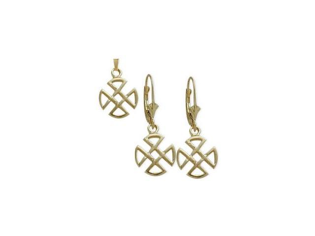 10 Karat Yellow Gold Celtic 4 Trinity Earrings & Pendant Set with a chain