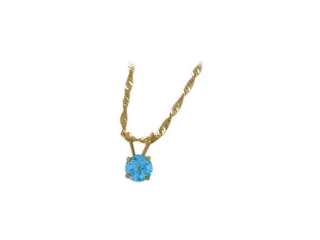 December 0.55tcw. 5mm 14 Karat Yellow Gold Genuine Round Blue Topaz Pendant