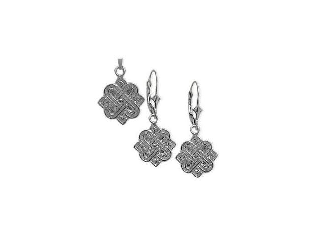 10 Karat White Gold Celtic 4 Point Knot Earrings & Pendant Set with a chain