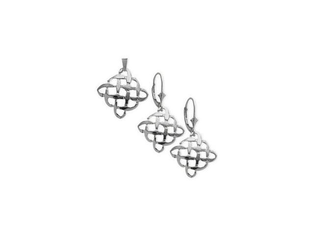 Sterling Silver Celtic Knot Earrings & Pendant Set with chain