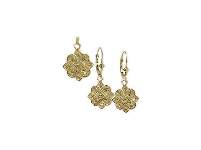 10 Karat Yellow Gold Celtic 4 Point Knot Earrings & Pendant Set with a chain