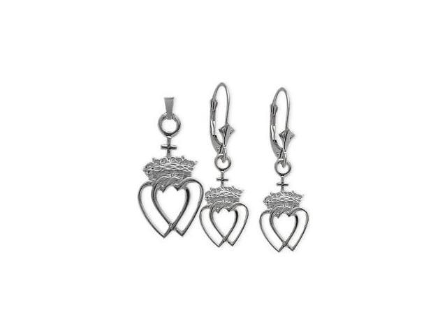 10 Karat White Gold Celtic Crowned Heart Earrings & Pendant Set with a chain