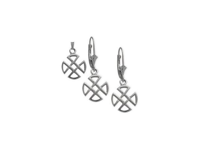 Sterling Silver Celtic 4 Trinity Earrings & Pendant Set with a chain