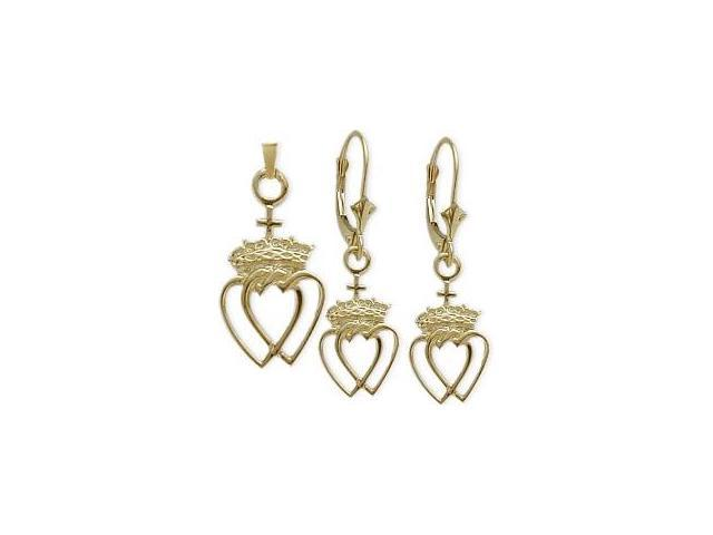 10 Karat Yellow Gold Celtic Crowned Heart Earrings & Pendant Set with chain