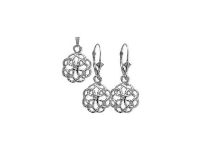 10 Karat White Gold Celtic Knot Earrings & Pendant Set with a chain