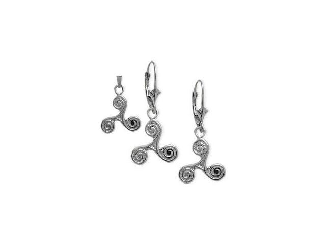 Sterling Silver Celtic Triskele Earrings & Pendant Set with a chain
