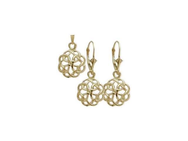 10 Karat Yellow Gold Celtic Knot Earrings & Pendant Set with a chain