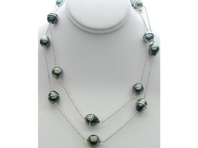 Genuine Sterling Silver 35 Inch Tahitian Pearl Necklace