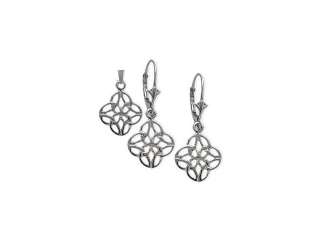Sterling Silver Celtic Earrings & Pendant Set with a chain