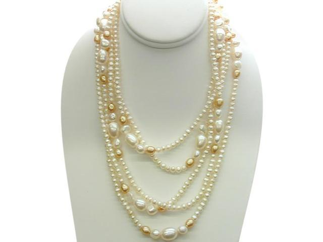 80 Inch White & Champagne Freshwater Pearl Strand Necklace
