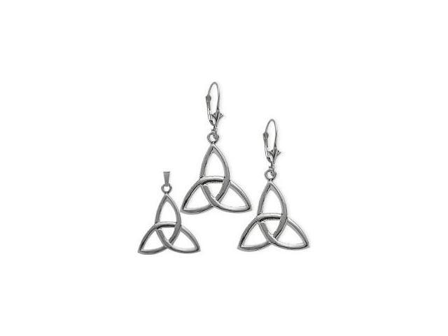 Sterling Silver Celtic Trinity Knot Earrings & Pendant Set with a chain