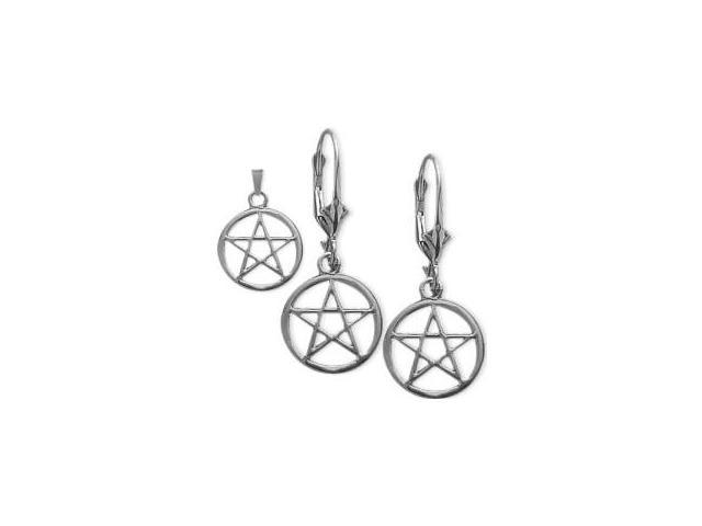 Sterling Silver Celtic Star Earrings & Pendant Set with a chain