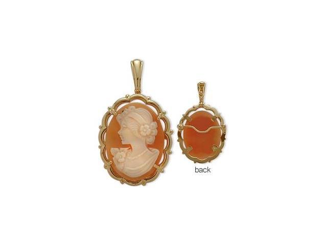 Fancy 14 Karat Yellow Gold Cornelian Shell Cameo Pendant with Chain